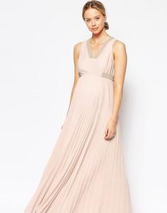 Платье макси с защипами для беременных ASOS Maternity - Розовый