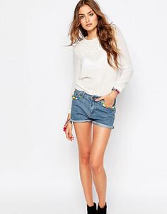 Супероблегающие джинсы с заниженной талией и рваными коленями Liquor & Poker Tall - Синий