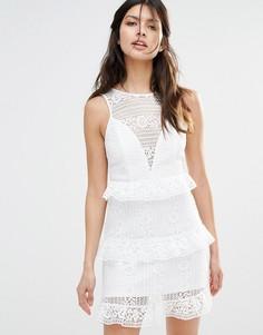 Платье мини с рюшами River Island - Белый