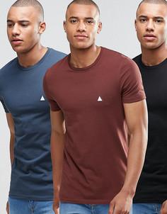 3 обтягивающие футболки с логотипом (черная/синяя/каштановая) ASOS - СКИДКА - Мульти