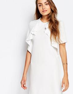 Цельнокройное платье с короткими рукавами и оборкой Alter Tall - Кремовый