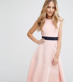 Приталенное платье миди с контрастным поясом Vesper - Розовый