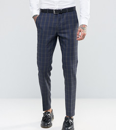 Чесаные зауженные брюки в клетку тартан Heart & Dagger - Темно-синий