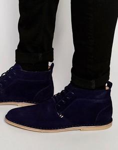 Замшевые темно-синие ботинки чукка River Island - Синий