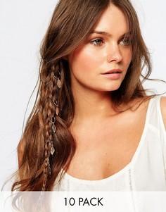 Кольца для волос с подвесками в виде листьев New Look - Золотой