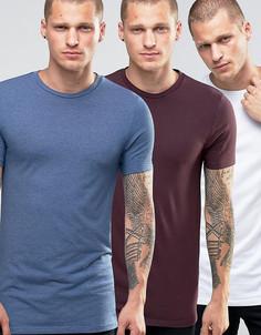3 удлиненных футболки (темно-красная/белая/синяя) ASOS - СКИДКА 13 - Мульти