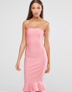 Премиальное бандажное платье с оборкой по краю Missguided Tall Exclusive - Розовый