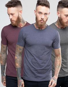 3 футболки (темно-синий/бордовый/темно-серый) ASOS - СКИДКА - Мульти