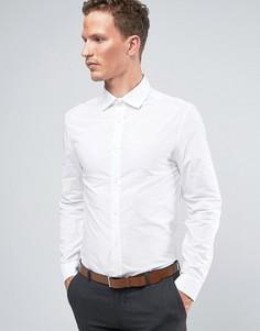 Строгая белая рубашка узкого кроя из поплина River Island - Белый