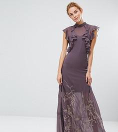 Платье макси с высоким воротом и вышивкой на юбке Hope & Ivy - Серый