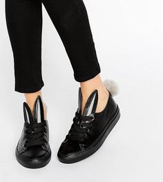 Черные кожаные кеды с декоративными хвостиками Minna Parikka - Черный