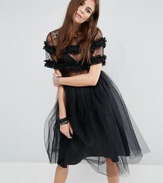 Платье из тюля с нашивками-звездами Reclaimed Vintage - Черный