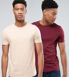 2 футболки с круглым вырезом (бежевая/красная) ASOS TALL - СКИДКА - Мульти