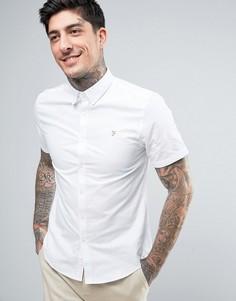 Белая узкая оксфордская рубашка на пуговицах с короткими рукавами Farah Brewer - Белый