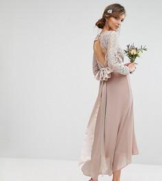 Кружевное платье миди с бантом на спине TFNC Tall Wedding - Розовый