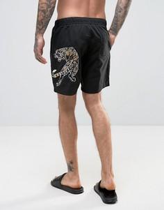 Черные шорты для плавания средней длины с вышивкой в виде тигра ASOS - Черный
