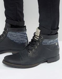 Черные кожаные ботинки в стиле милитари с ткаными вставками River Island - Черный