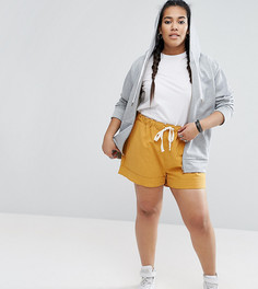 Повседневные льняные шорты со шнурком ASOS CURVE - Бежевый