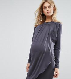 Трикотажное платье для беременных и кормящих с длинными рукавами Mamalicious - Серый Mama.Licious