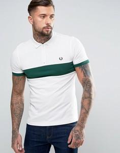 Белая узкая футболка-поло на молнии со вставкой на груди Fred Perry - Белый