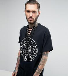 Оверсайз-футболка с принтом и шнуровкой Reclaimed Vintage - Черный