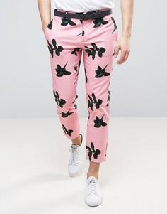 Розовые укороченные зауженные брюки с цветочным принтом ASOS - Розовый