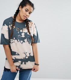 Рваная футболка с принтом тай-дай и кружевной отделкой ASOS CURVE - Мульти