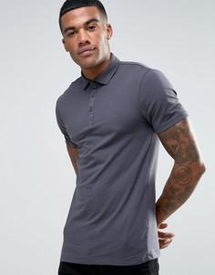 Серая обтягивающая футболка-поло River Island - Серый