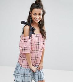 Комбинируемое хлопковое платье в клетку с открытыми плечами ASOS PETITE - Мульти