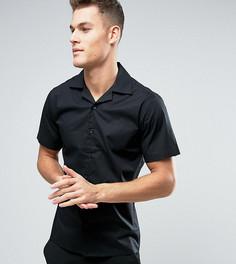 Приталенная рубашка с короткими рукавами и воротником в виде лацканов Only & Sons - Черный