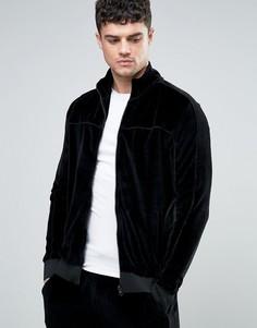 Черная спортивная велюровая куртка River Island - Черный
