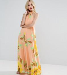 Платье макси с цветочным принтом ASOS PETITE - Мульти