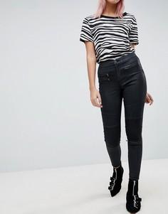 Черные джинсы в байкерском стиле с завышенной талией и покрытием ASOS SCULPT ME - Черный