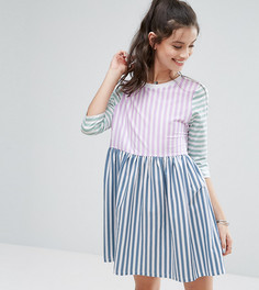 Свободное платье мини в полоску ASOS PETITE - Мульти