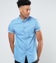 Светлая выбеленная джинсовая рубашка с коротким рукавом Burton Menswear TALL - Синий