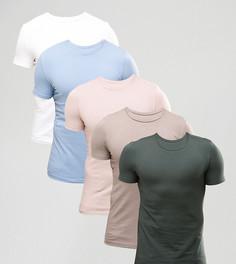 Набор из 5 обтягивающих футболок ASOS, СКИДКА - Мульти