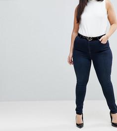 Темные джинсы с завышенной талией ASOS CURVE SCULPT ME Premium - Синий