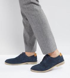 Темно-синие замшевые дерби для широкой стопы со светло-коричневой кожаной вставкой на заднике ASOS - Темно-синий