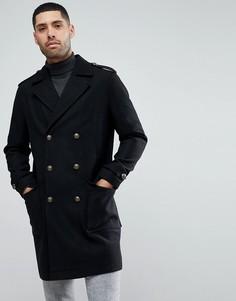 Удлиненное пальто милитари из ткани с добавлением шерсти Stanley Adams - Черный