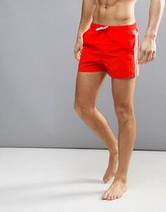 Красные шорты для плавания с фирменными полосками adidas BJ8814 - Красный