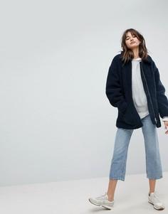Пальто из искусственного меха Weekday - Темно-синий
