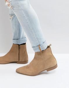 Бежевые замшевые ботинки челси на молнии ASOS - Светло-бежевый