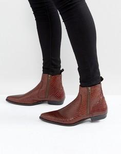 Коричневые кожаные ботинки челси с эффектом змеиной кожи ASOS - Коричневый