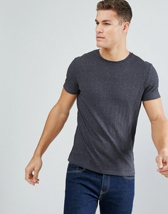 Темно-серая фактурная футболка в рубчик ASOS - Серый