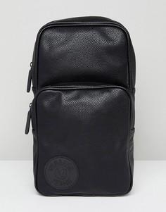 Черная кожаная сумка с логотипом Versace Jeans - Черный