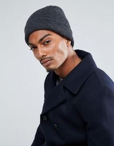 Шерстяная шапка-бини Selected Homme - Серый