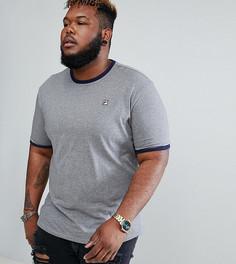 Серая футболка с контрастным вырезом и маленьким логотипом Fila Vintage PLUS - Серый