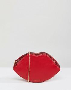 Красная блестящая сумочка через плечо в форме губ Lulu Guinness - Красный