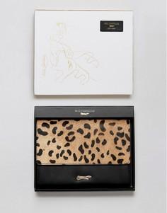 Кожаный кошелек с эффектом ворса пони и леопардовым принтом Paul Costelloe - Черный