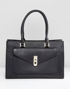 Черная кожаная сумка с тиснением на кармане Paul Costelloe - Черный